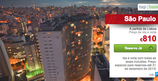 TAP com Promoções para 6 Destinos no Brasil