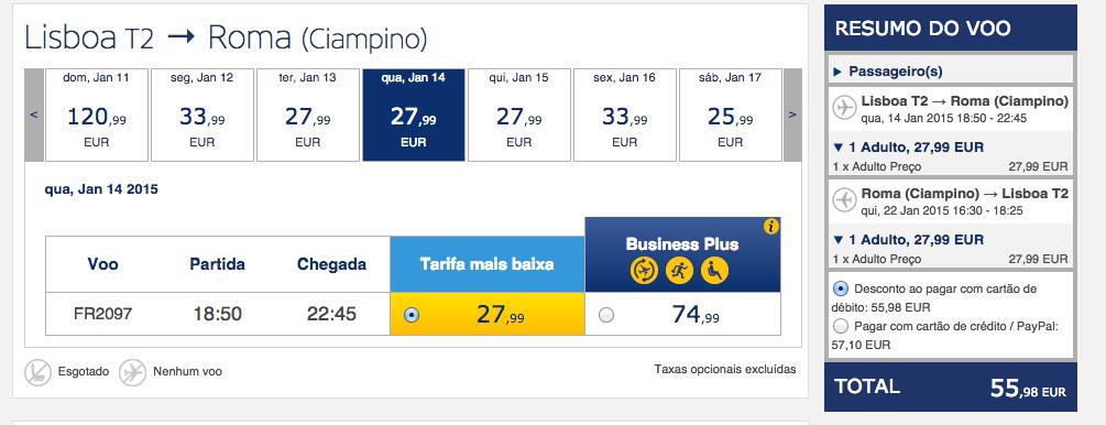 Tarifas low cost na Ryanair