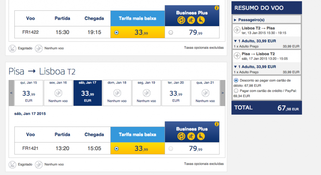 Viagens low cost para Pisa na Ryanair