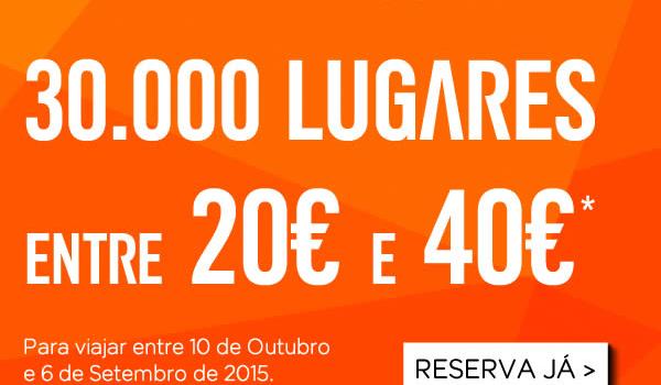 Promoções Easyjet – 30 mil lugares entre 20 e 40 euros