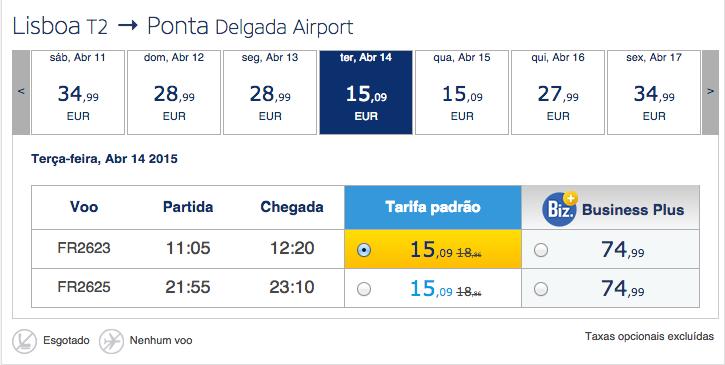 Voos low cost Ryanair: Açores desde 30 euros ida e volta