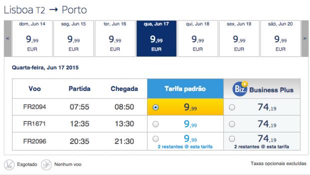 Ryanair com Voos a 9,99€ entre Lisboa e Porto