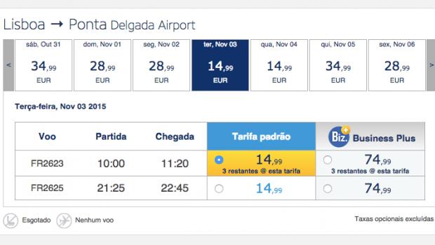 Voos Baratos Ryanair para os Açores: 30 euros ida e volta