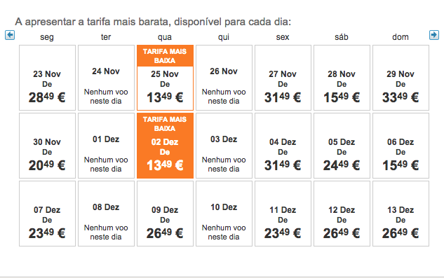 Tarifas desde 13,49€ na Easyjet