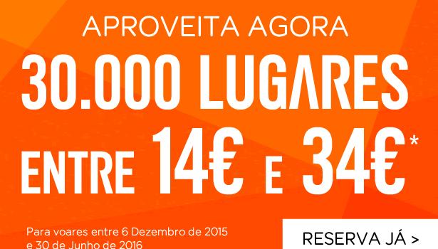 30 mil Lugares na Easyjet com Voos entre 14€ e 34€