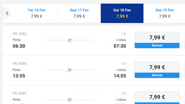 Loucura de Preços na Ryanair em Fevereiro